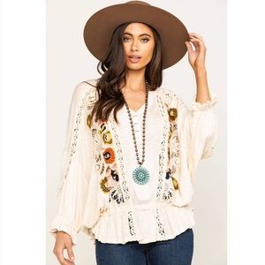 NWT Free People Serafina Embroidered Top